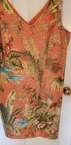 Talbots coral linen tropical scene dress